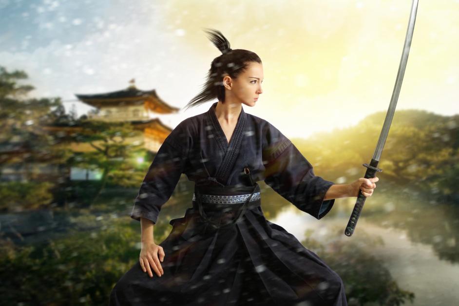 Japan samurai collage